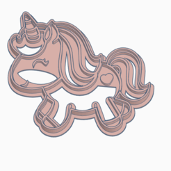 UNICORN3.png Download STL file Simple Unicorn Cookie Cutter • 3D printer model, StratOasiS