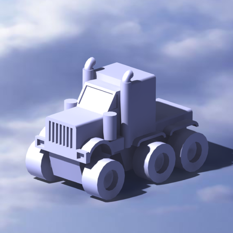 3.png Download STL file American truck (no container) • Template to 3D print, Mechanic