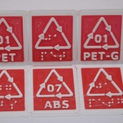 Imprimir en 3D Plástico compuesto hierro/acero CÓDIGO Y ETIQUETA DE RECICLAJE: CARTAS DE IMPRESIÓN Y DE BARRILLA, tom-harder-sec