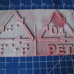 Download 3D printing designs PET Recycling code and label: print and Braille letters, tom-harder-sec