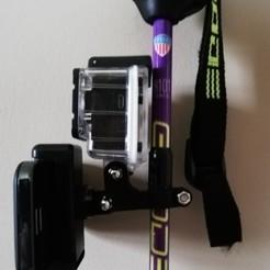 Ski Pole Camera B1.jpg Télécharger fichier STL Bâton de ski Support d'appareil photo Bâton de selfie et support de téléphone • Modèle imprimable en 3D, AZak-TekDesign