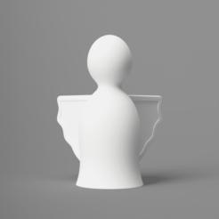 front.png Télécharger fichier STL gratuit Ange de Noël 01 (mode vase) • Modèle pour imprimante 3D, Wilko