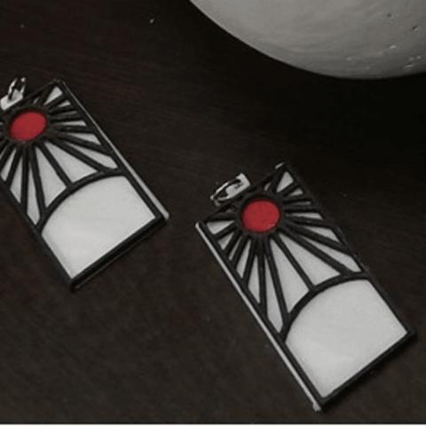 Impresiones 3D Demon Slayer's Tanjiro Earrings, JamesWaffles