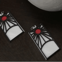 Download STL Demon Slayer's Tanjiro Earrings, JamesWaffles