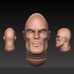 Bald_Male_head_render.PNG Télécharger fichier STL gratuit La calvitie de guerre : Fantasy, tête d'homme de science-fiction • Design pour impression 3D, showland