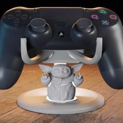 Download 3D printing designs Baby yoda PS4 control holder, Aslan3d