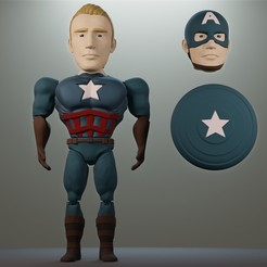 Render5CAP.jpg Download STL file Captain America Articulate • 3D printer object, Aslan3d