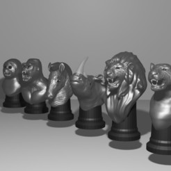 Download STL file JUNGLE CHESS, Aslan3d