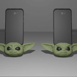 Imprimir en 3D baby yoda porta iphone, Aslan3d