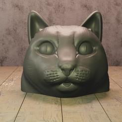 Download STL file cat head • 3D printer design, Aslan3d