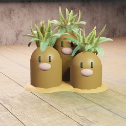 3 topos planter.jpg Download STL file Diglett planter • 3D printing design, Aslan3d