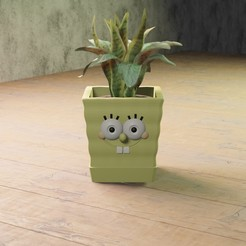01 bob.jpg Download STL file SpongeBob planter • 3D print design, Aslan3d