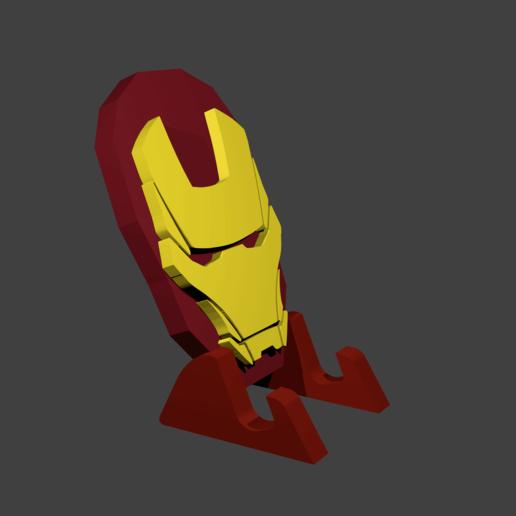 render5png.png Télécharger fichier STL gratuit Détenteur d'un téléphone portable Iron Man • Design pour impression 3D, Aslan3d