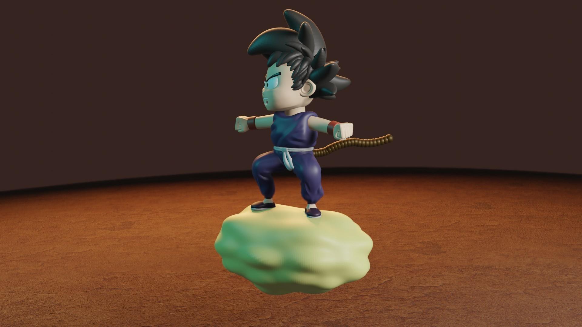 rENDER7.jpg Télécharger fichier STL gratuit L'enfant Goku dans le nuage • Objet pour impression 3D, Aslan3d