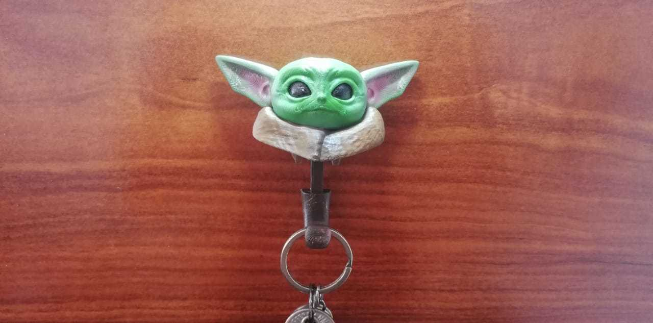 1jpeg.jpeg Download STL file Baby Yoda key holder • 3D printing model, Aslan3d