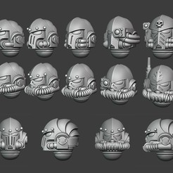 Salamanders Heads.jpg Download STL file Salamander Helmets - Tactical Version • 3D printable object, Red-warden-miniatures