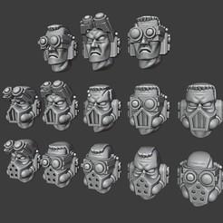 Scout heads cults3d.jpg Télécharger fichier STL Têtes de scout de la marine spatiale • Plan pour imprimante 3D, Red-warden-miniatures