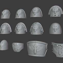 DA_Pads.jpg Download free STL file 1st Legion Shoulder pads • Model to 3D print, Cornivius