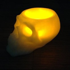 Download free 3D printing models skull battery tea light holder, procreator3D