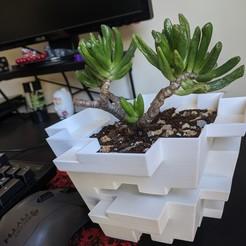 Download 3D printing files Blocky Planter, Isi8Bit