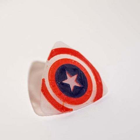 Free STL file Captain America guitar pick, Absolute3D