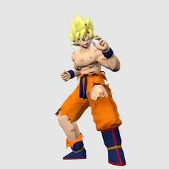 Download free STL file Super Saiyan Goku • 3D print template, Absolute3D