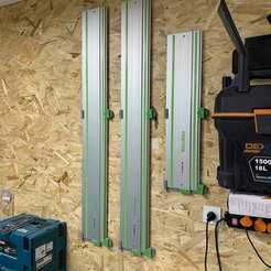 IMG_9939.jpg Download STL file Festool / Makita / Bosch / Mafell /  Triton / Kawasaki Track Rail Wall Mount (vertical/horizontal/ceiling) • Model to 3D print, mactouf