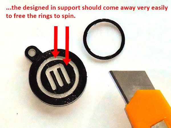 support_2_display_large.jpg Télécharger fichier STL gratuit Porte-clés rotatif / Fob.... avec logo MakerBot tournant ! • Objet pour imprimante 3D, Muzz64