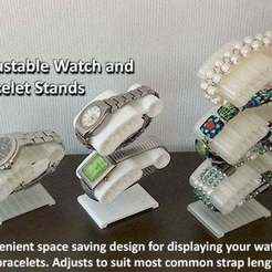 Download free STL files Watch and Bracelet Stand - Convenient / Adjustable / Space Saving, Muzz64