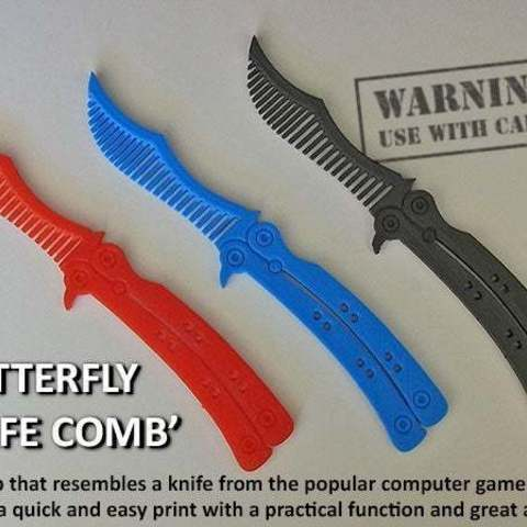Download free 3D printing designs Butterfly Knife Comb, Muzz64