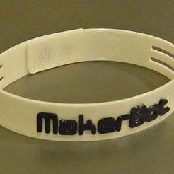 Free STL Ultra-Slim Wristband - Clever link system. MakerBot logo or plain versions., Muzz64