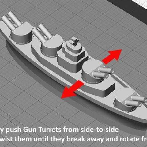 post_print_display_large.jpg Download free STL file BATTLESHIPS - with Rotating Gun Turrets (No support required) • 3D printer template, Muzz64