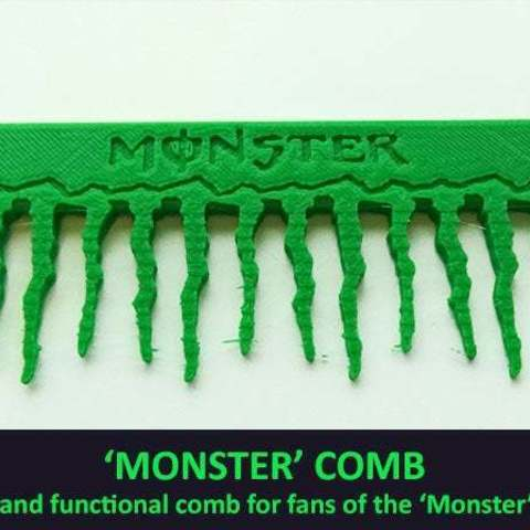 Download free 3D printer designs 'Monster' Comb, Muzz64