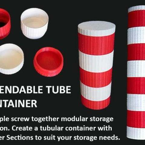 Download free 3D printer designs Extendable Modular Tube Container, Muzz64