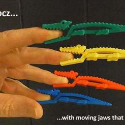 Download free 3D printing models Crocz... Crocodile Clips / Clamps / Pegs with Moving Jaws, Muzz64