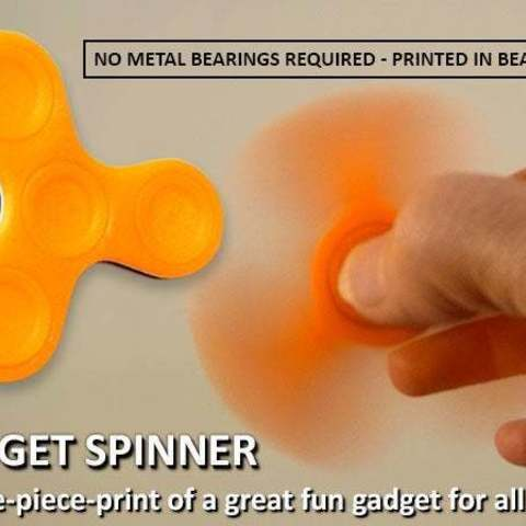 Download free STL files Fidget Spinner - One-Piece-Print / No Bearings Required!, Muzz64