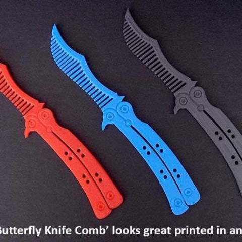 Download free 3D printing designs Butterfly Knife Comb ・ Cults