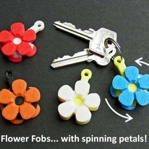 Download free 3D printer designs Flower Fobs... Flower Key Fobs that Spin!, Muzz64