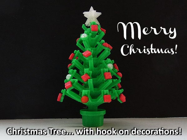 merrychristmas_display_large.jpg Download free STL file Mini Christmas Tree with hook on Decorations! • Design to 3D print, Muzz64