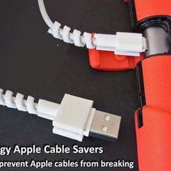 Download free STL file Springy Apple Cable Savers, Muzz64