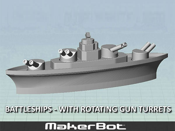 desktop_display_large.jpg Download free STL file BATTLESHIPS - with Rotating Gun Turrets (No support required) • 3D printer template, Muzz64