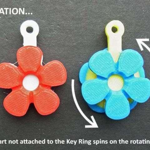 rotate_display_large.jpg Télécharger fichier STL gratuit Fleurs Fobs..... Des porte-clés Flower qui tournent ! • Modèle pour impression 3D, Muzz64