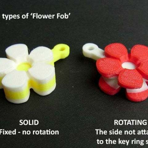types_display_large.jpg Download free STL file Flower Fobs... Flower Key Fobs that Spin! • 3D printing object, Muzz64