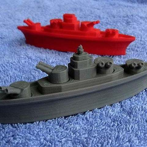 battleship_1_display_large.jpg Download free STL file BATTLESHIPS - with Rotating Gun Turrets (No support required) • 3D printer template, Muzz64