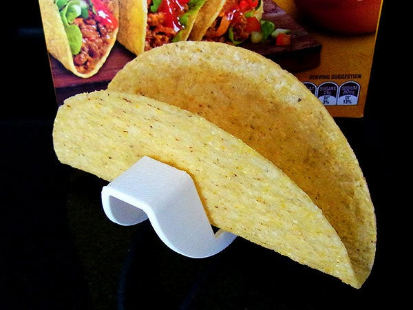 cda99b71ed7a49415121c770e8458db8_display_large.jpg Download free STL file Taco Holder - Rolls over for easy filling / Flat base holds Taco upright when served • Model to 3D print, Muzz64