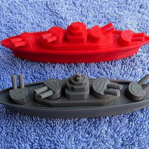 tpo_side_display_large.jpg Download free STL file BATTLESHIPS - with Rotating Gun Turrets (No support required) • 3D printer template, Muzz64