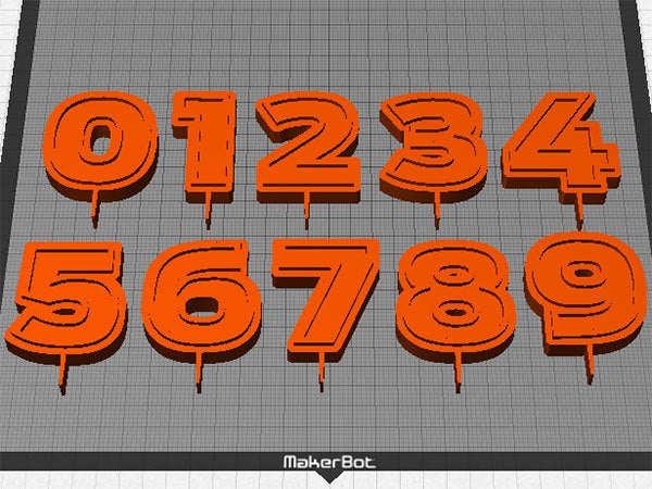 numbers_display_large.jpg Download free STL file Candle Holder Numbers - Numbers 0 - 9 for Birthday Cake Decoration • Template to 3D print, Muzz64