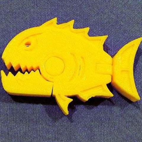 Télécharger fichier imprimante 3D gratuit Attaque des Pianha's..... Piranha avec mâchoire et queue en mouvement, Muzz64