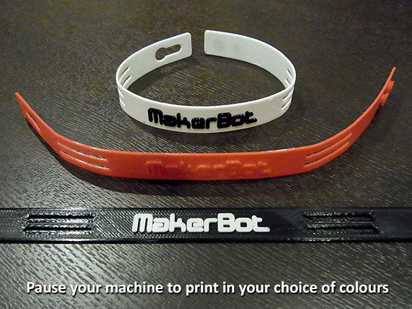 colours_display_large.jpg Download free STL file Ultra-Slim Wristband - Clever link system. MakerBot logo or plain versions. • 3D printable template, Muzz64