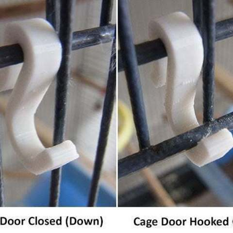closed-open_display_large.jpg Download free STL file Bird Cage Door Hooks - Hook open Bird Cage Doors for ease of access • 3D printer model, Muzz64